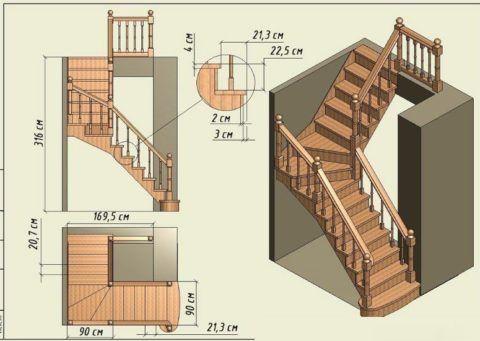 Перед тем как сделать своими руками деревянную лестницу, нужно составить подробный проект