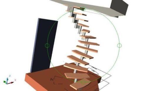 План-чертеж винтовой лестницы в 3d