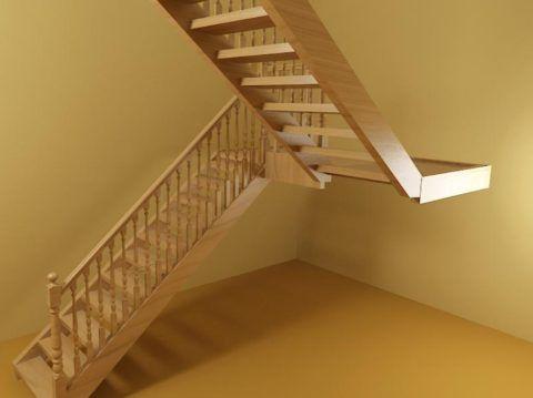 Двухмаршевая лестница имеет лестничную площадку, которая делит ее на две части