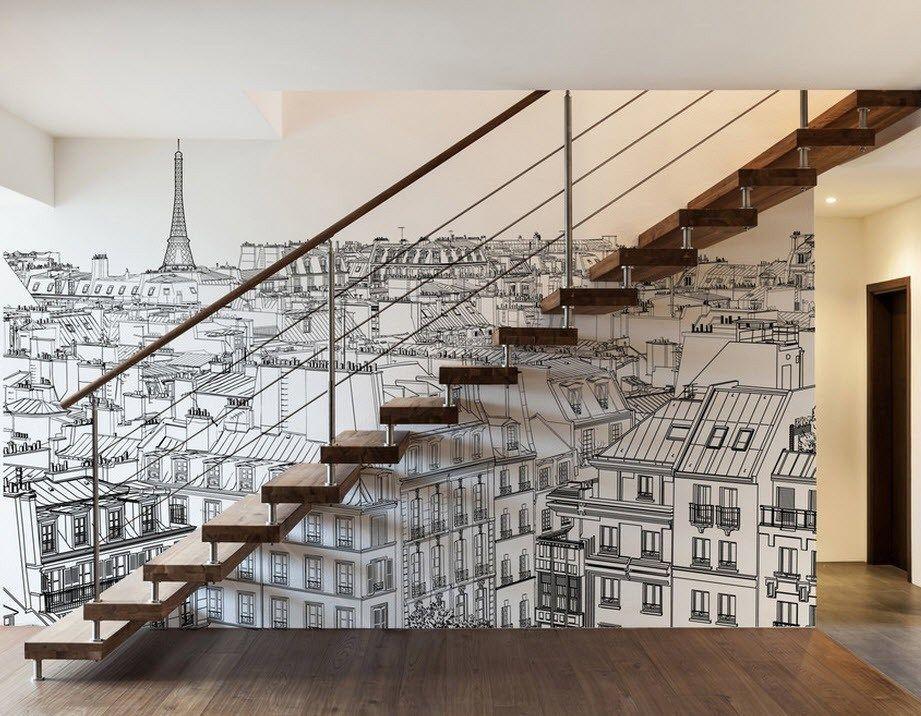 оформление лестницы стен фотообои разных мастеров получается