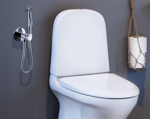 Гигиенический душ монтируется рядом с унитазом