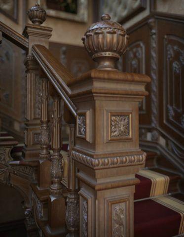 Именно начальные столбы для деревянных лестниц, богато украшенные и эффектно выполненные, как бы приглашающие взойти на лестницу, являются её своеобразным лицом
