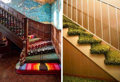 Использование покрытия разных расцветок в дизайне лестницы