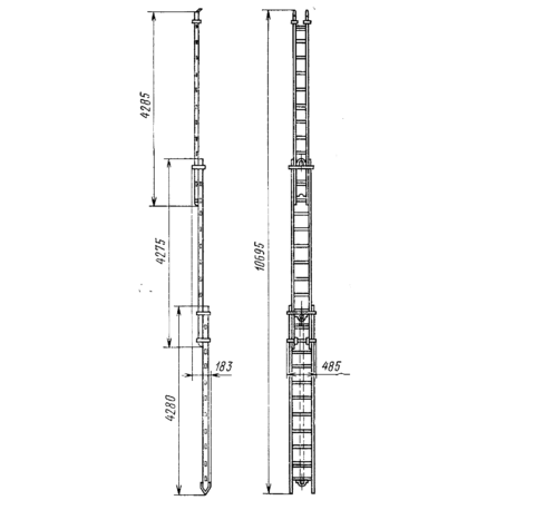 Лестница типа Л-60 самая длинная, но в то же время сложная по конструкции и тяжёлая