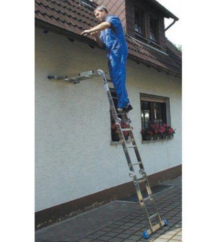 Лестница трансформер — 4 секции механизма обеспечивают удобный доступ к месту работы