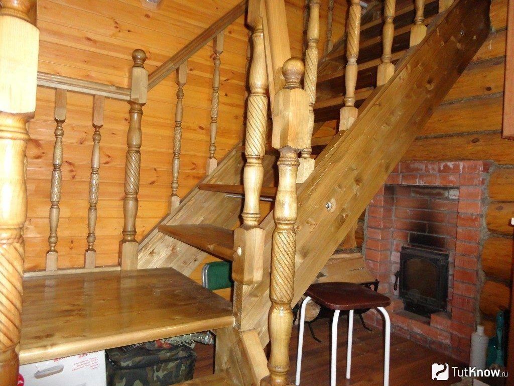 Лестница на второй этаж бани своими руками