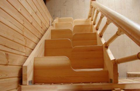 Лестница в погреб с такой конфигурацией ступеней экономит пространство