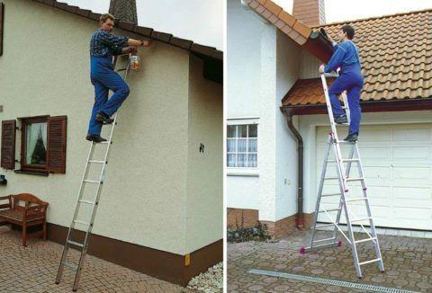 Лестницы используются во множестве строительных и хозяйственных работ