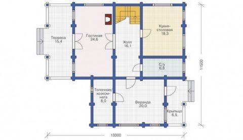 План первого этажа дома с устройством лестницы в холле