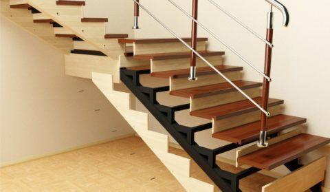 Пример облицовки металлической лестницы