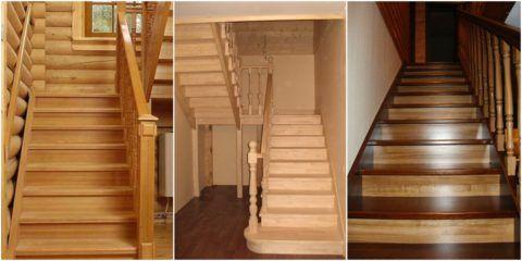 Сосна является одним из распространенных видов древесины, используемых для изготовления внутридомовых лестниц