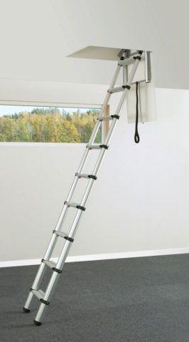 Телескопическая лестница выдвигается словно удочка