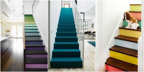 Выбирая, в какой цвет покрасить лестницу, не стоит бояться экспериментов