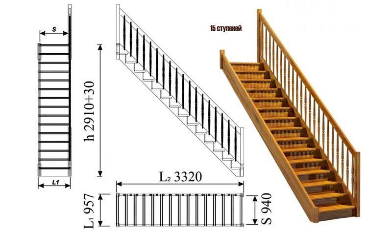 Чертеж деревянной лестницы, 3d модель