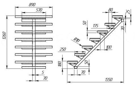 Лестница на одном косоуре: чертеж прямой одномаршевой конструкции