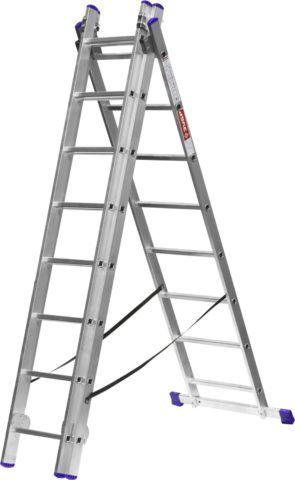 Лестницы трехсекционные Зубр со стабилизатором