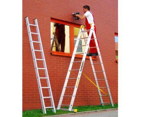 Снятое колено трехсекционной лестницы - использование ее в качестве стремянки
