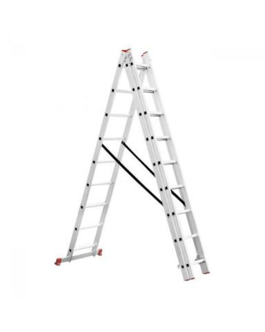Строительная лестница трехсекционная, разложенная в виде стремянки