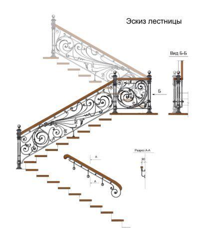 Технически грамотно выполненный эскиз дает представление не только о конструкции лестницы, но и указывает на ее пространственную ориентацию в пределах последующего монтажа