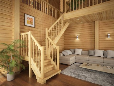 Удобная деревянная лестница