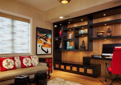 Современный китайский интерьер, даже в современном решении, в условиях малогабаритной квартиры сохраняет присущий ему характер и стиль, только лестницам в них места уже не находится