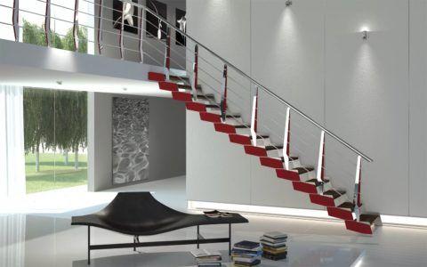 Одномаршевая лестница при соблюдении угла наклона занимает очень много места