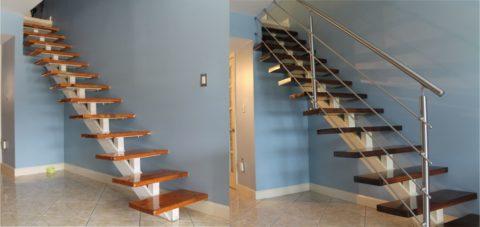 Лестницы с перилами и без ограждений