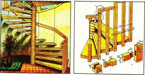 Деревянная модель на центральной опоре лучше всего подходит для самостоятельного изготовления