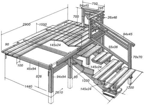 На фото пример чертежа деревянного крыльца со всеми необходимыми размерами