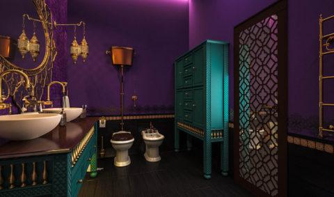 Дизайн ванной комнаты в фиолетовых тонах выполненный в марокканском стиле