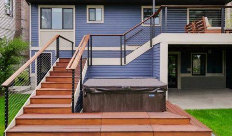 Проект входной лестницы из дерева и металла