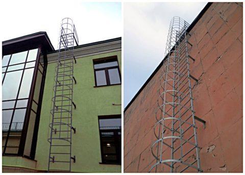 Для таких крутых лестниц инструкция предусматривает обязательное наличие ограждений