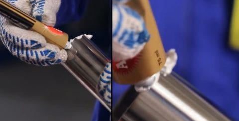 Нанесение полироли не трубу