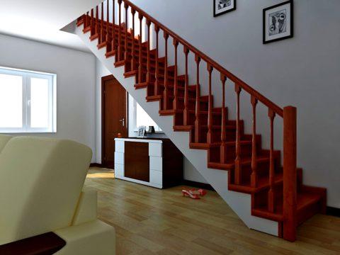Обычная одномаршевая лестница – самый бюджетный способ устройства межэтажного перехода
