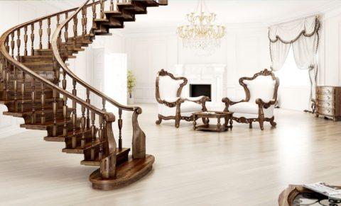 Лестница и мебель сделаны на заказ в одной мастерской