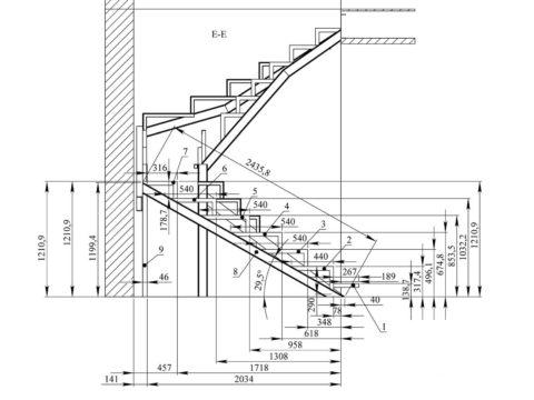 Пример чертежа деревянной лестницы