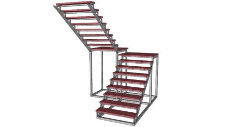 Расчет лестницы в два поворота делается по аналогии