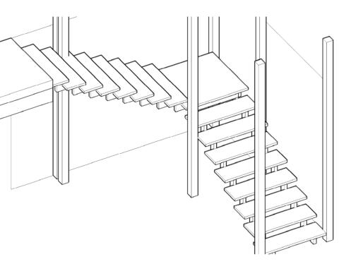 Расчет поворота лестницы на 90 градусов