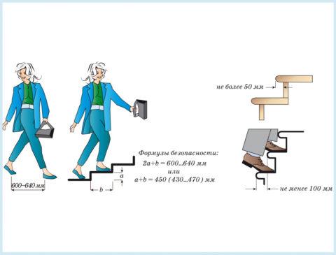Размеры частей ступеней и соотношение этих величин
