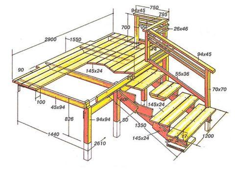 Пример составления детального проекта деревянного крыльца