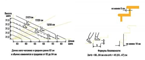 Зависимость длины шага и высоты ступеней