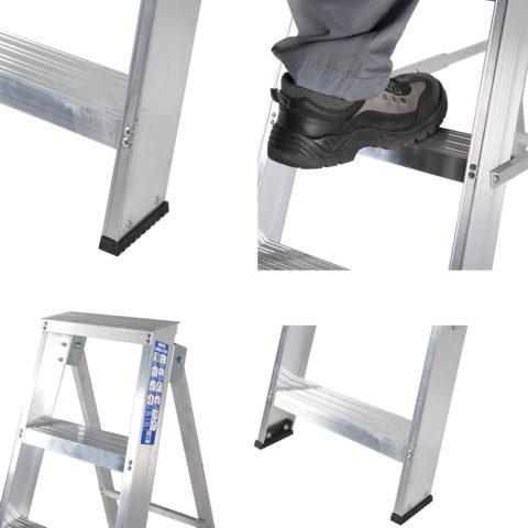 Широкие нескользкие ступени и резиновые накладки обеспечивают удобство и безопасность