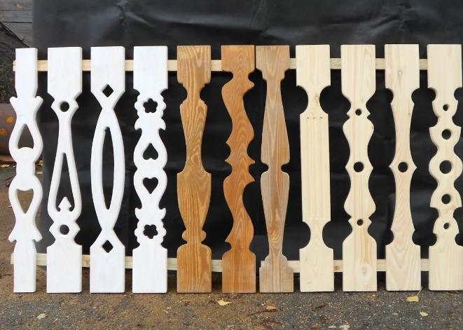 Примеры балясин, вырезанных из доски